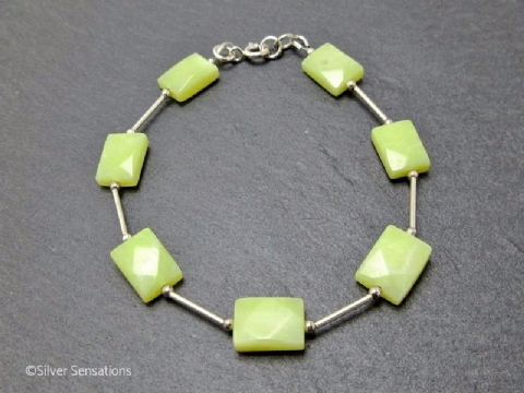 Lemon Yellow Olive Jade Faceted Oblongs & Sterling Silver Bracelet